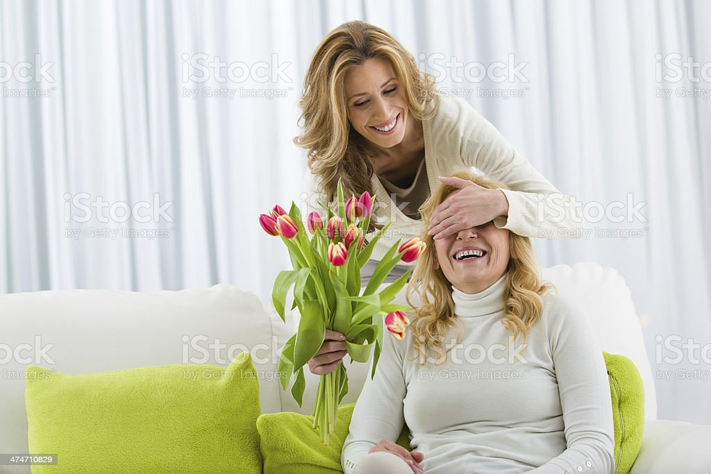 Mother receives tulips from her daughter stock photo