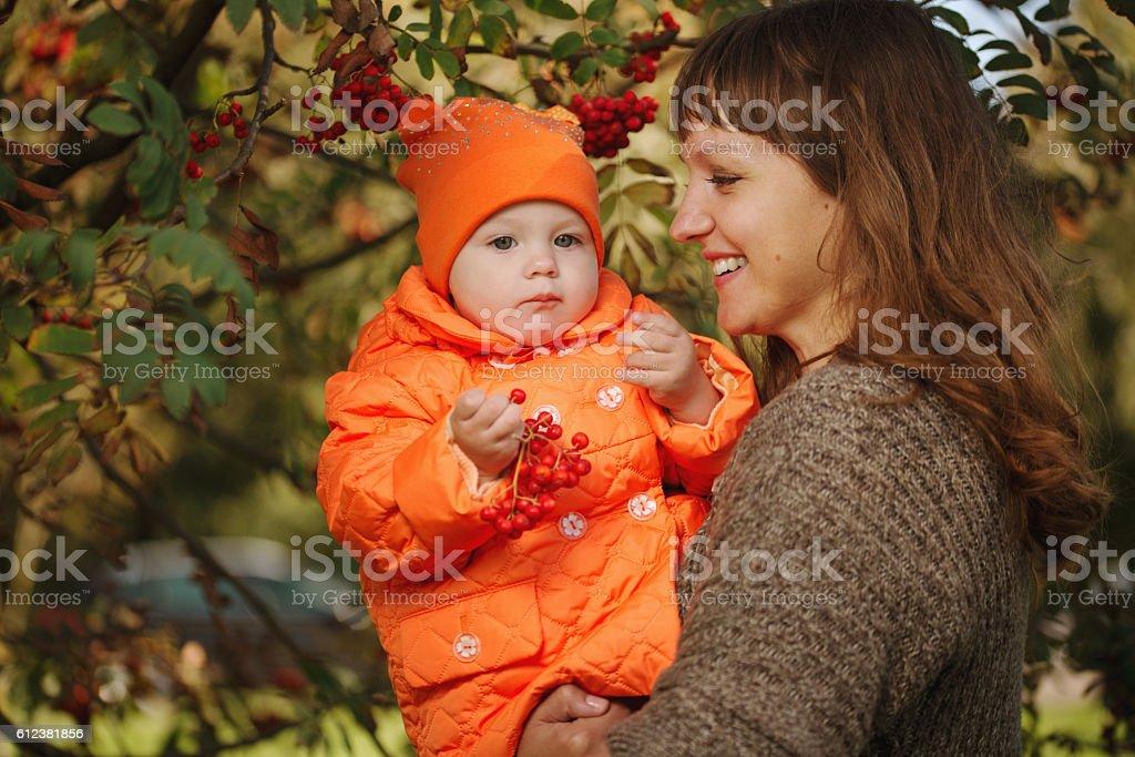 mother showing daughter rowan stock photo