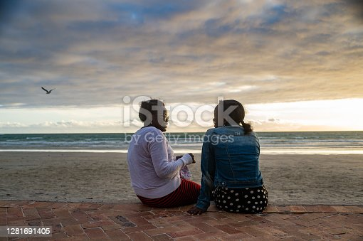 An African Ethnicity Mother sitting talking to her teenage daughter at the ocean at sunset with a seagull flying by