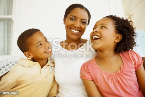 172407626istockphoto Mother smiling with son and daughter 182429472