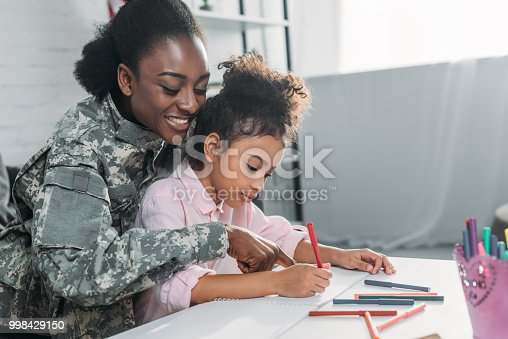 Mother soldier and african american child drawing together