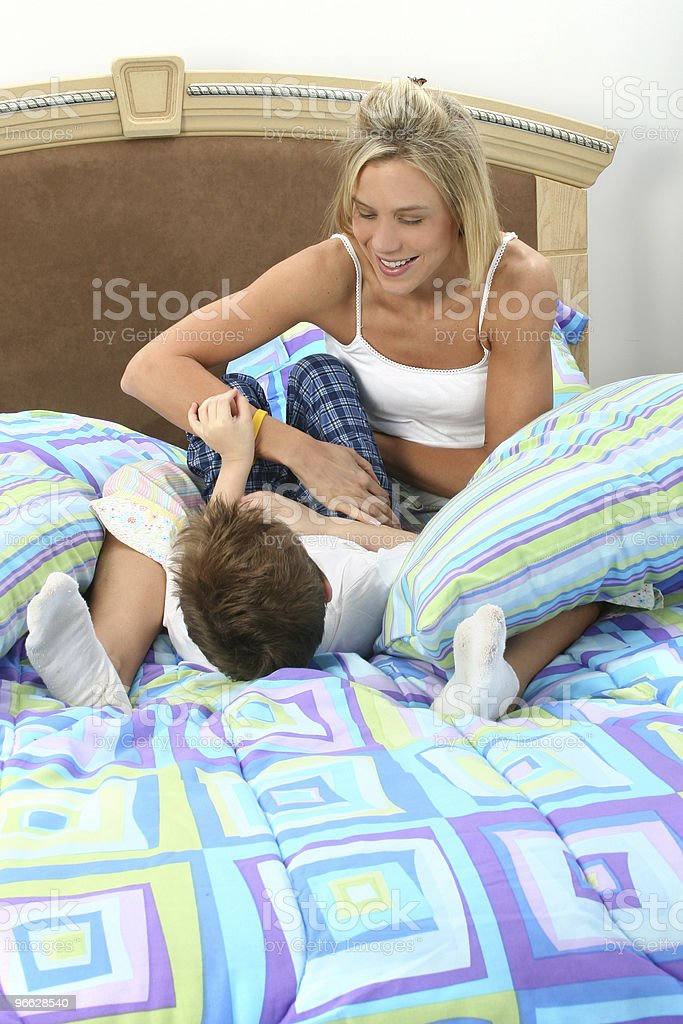 Mother Son Tickle Fight royalty-free stock photo