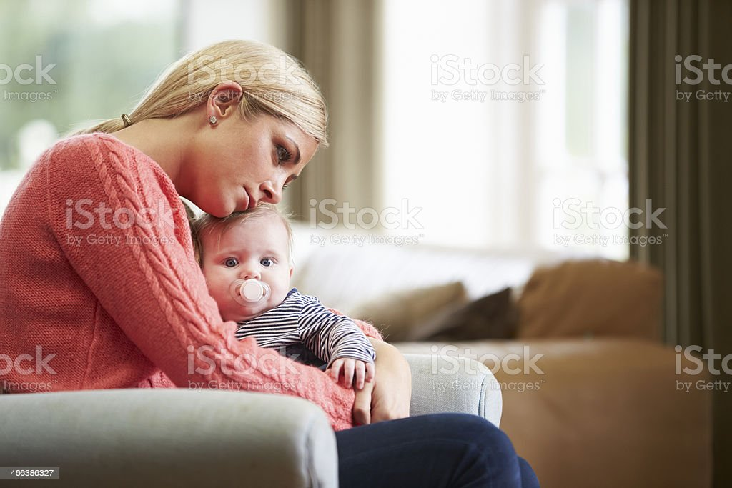 Mother Suffering From Post Natal Depression stock photo