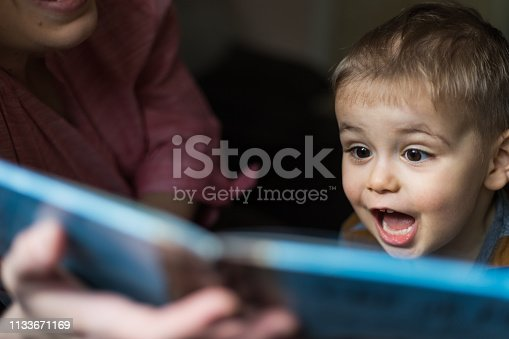 Mother is reading book for her son, indoor shoot. Boy is happy and smiling and enjoys a fairy tale.Family, children, education and happy people concept.