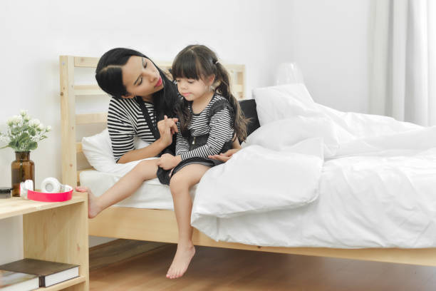 Mother tries to reconcile her daughter. stock photo