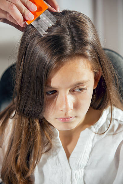 mutter, die einen kamm zu look für kopf lice. - kopfläuse was tun stock-fotos und bilder