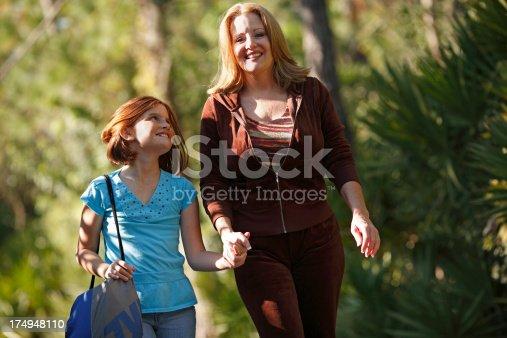 istock Mother walking daughter to school 174948110