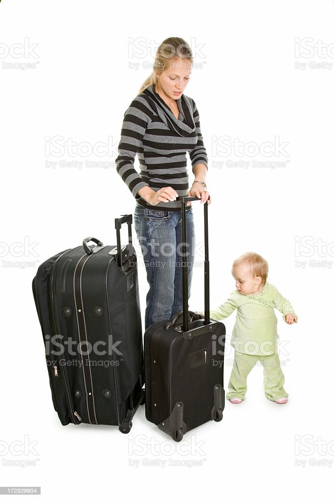 Mother with baby at airport isolated on white royalty-free stock photo