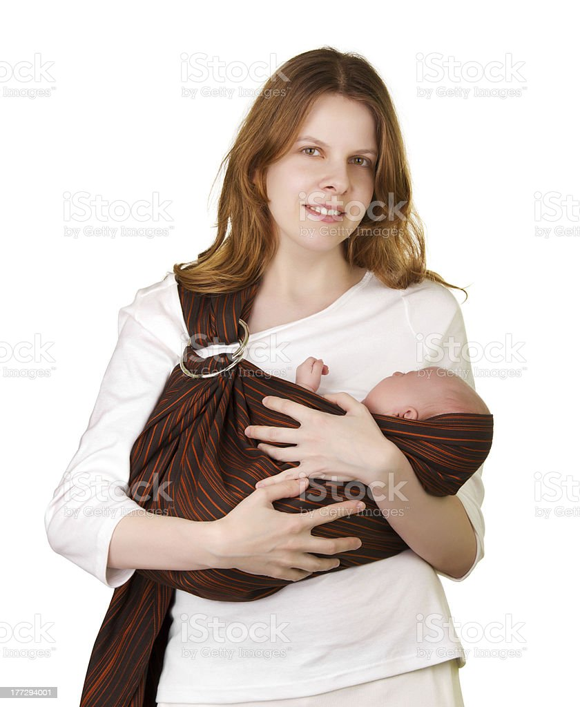 Mother with baby in a sling stock photo