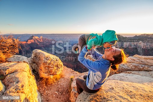A mother with baby son in Grand Canyon National Park, North Rim, Arizona, USA