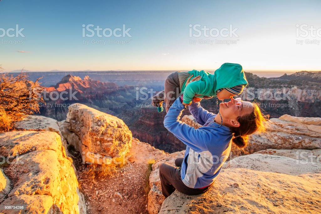 A mother with baby son in Grand Canyon National Park, North Rim, Arizona, USA stock photo