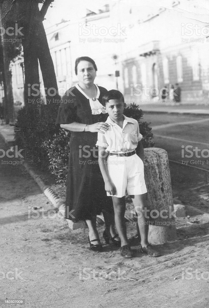 Mother with Child in 1933.Black And White stock photo