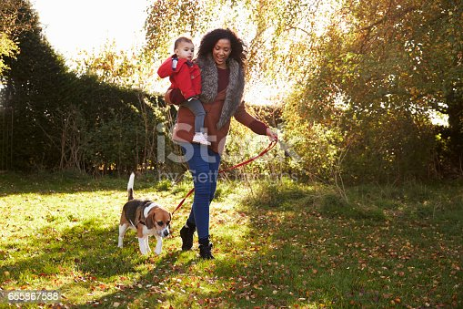 628820352 istock photo Mother With Child Taking Dog For Walk In Autumn Garden 655867588