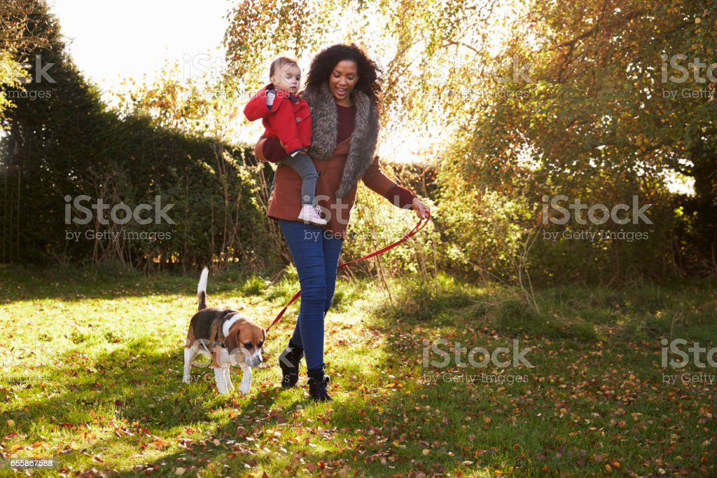 Mother With Child Taking Dog For Walk In Autumn Garden stock photo