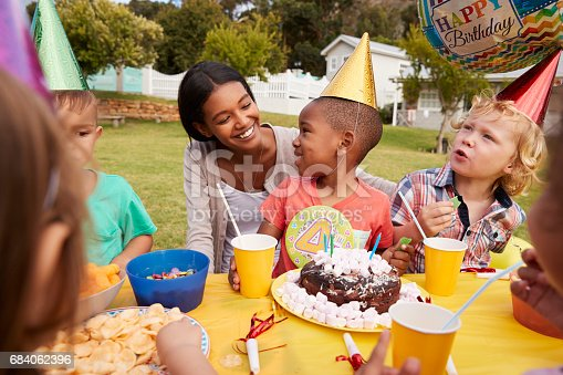 istock Mother With Children Enjoying Outdoor Birthday Party Together 684062396