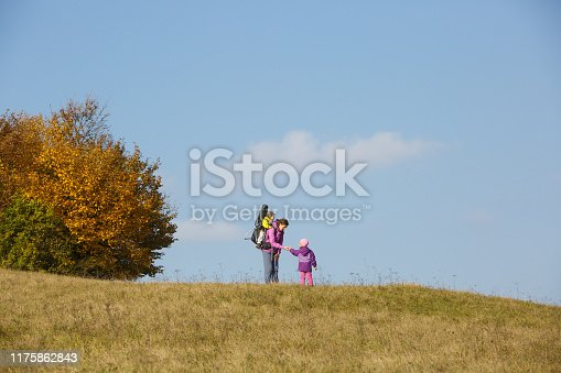 istock Mother with children hiking on a nice autumn day carrying kid 1175862843