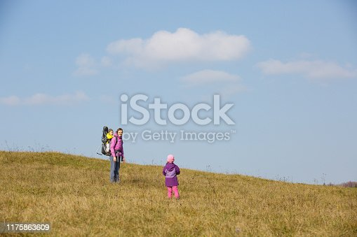 istock Mother with children hiking on a nice autumn day carrying kid 1175863609