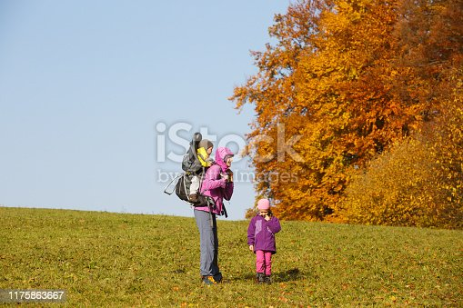 istock Mother with children hiking on a nice autumn day carrying kid 1175863667