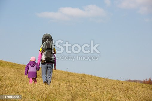 istock Mother with children hiking on a nice autumn day carrying kid 1175864337