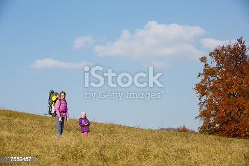 istock Mother with children hiking on a nice autumn day carrying kid 1175864571