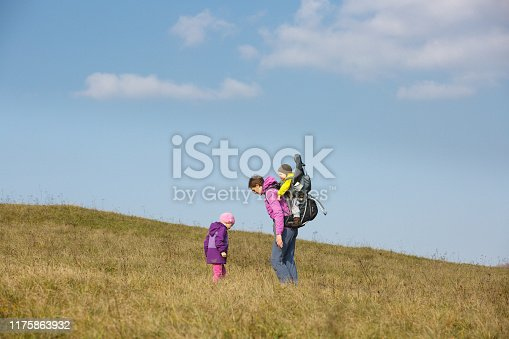 istock Mother with children hiking on a nice autumn day searching for wild herbs 1175863932
