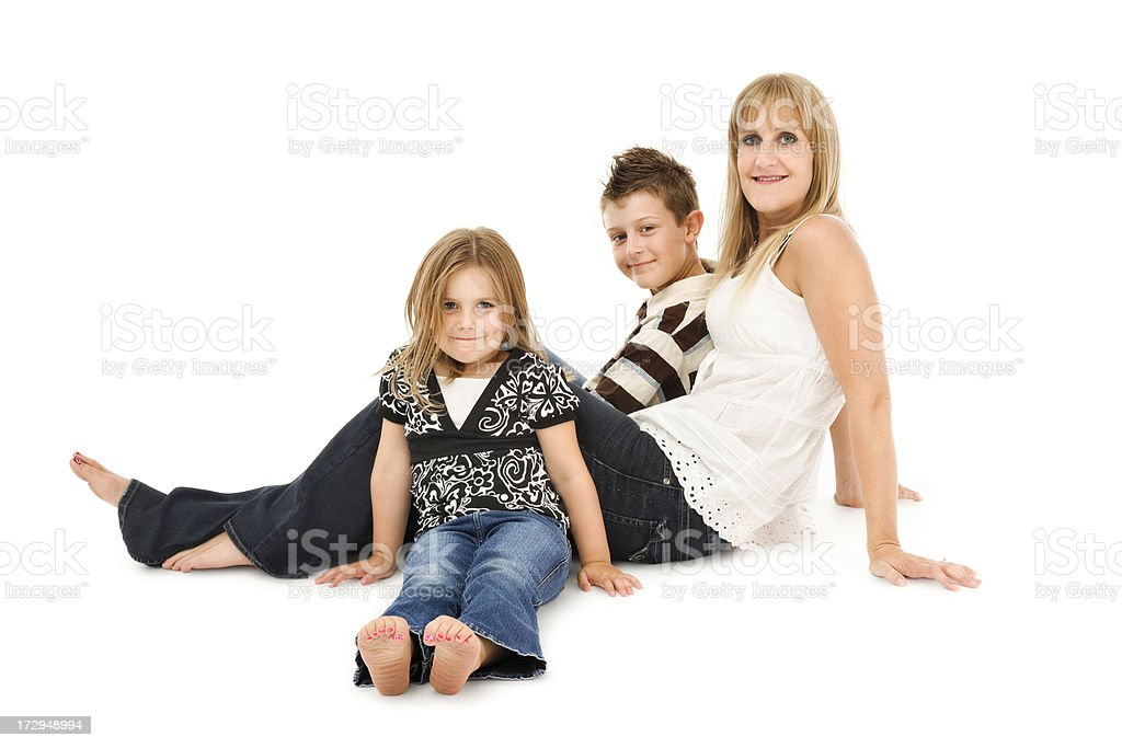Mother with Children on White royalty-free stock photo