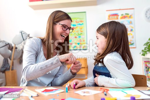 639271192 istock photo Mother with creative kid having fun time together 639022492