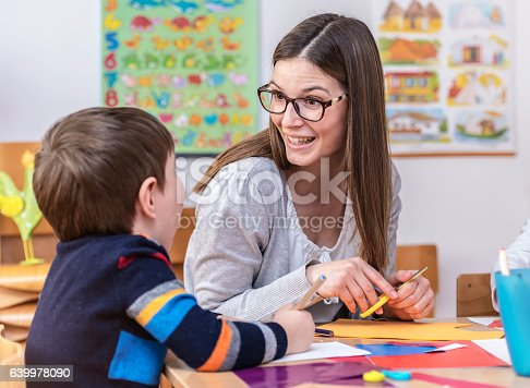 639271192 istock photo Mother with creative kid having fun time together 639978090