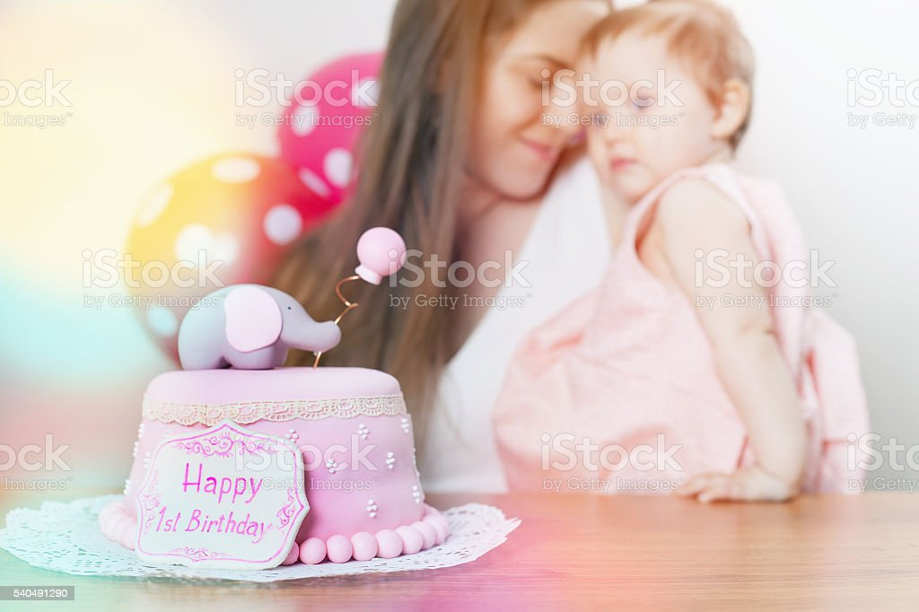 Super Mother With Cute Baby Celebrating First Birthday Cake Stock Photo Funny Birthday Cards Online Hetedamsfinfo