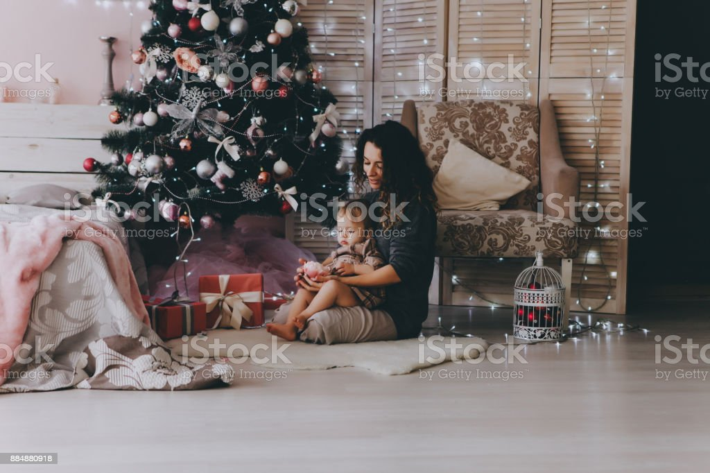 Mother with daughter. Christmas mood. stock photo