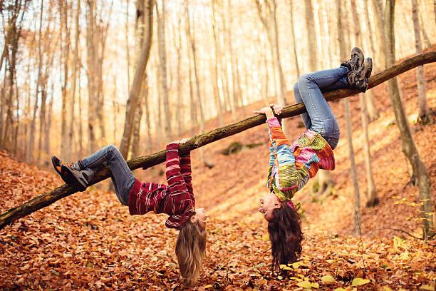 mother with daughter in autumn wood - bos spelen stockfoto's en -beelden