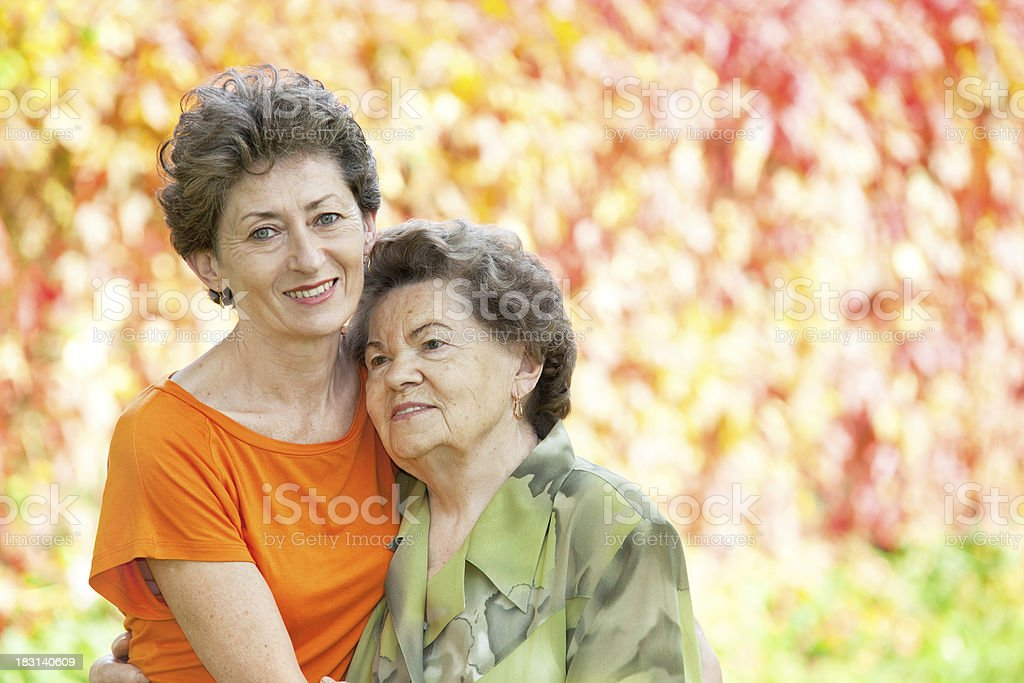 Mother with daughter in park royalty-free stock photo