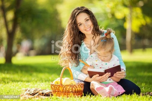 istock Mother with daughter in the park 185032441