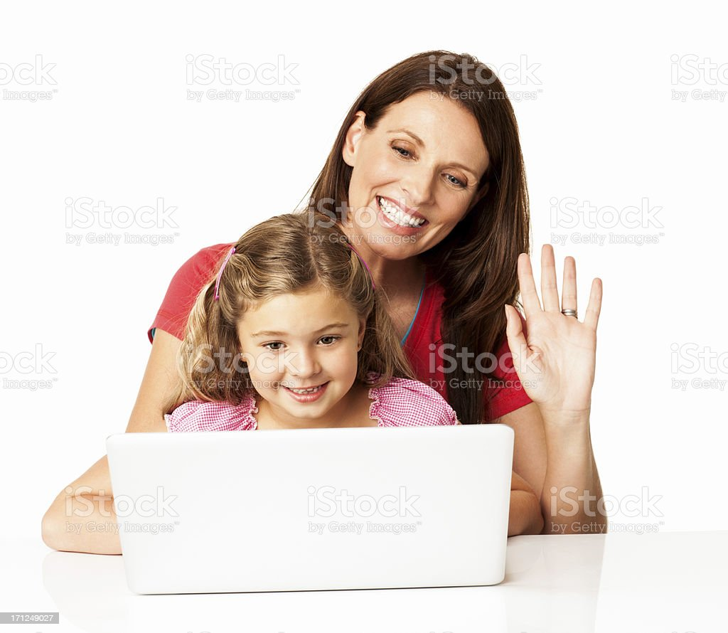 Mother With Daughter On Video Conference - Isolated royalty-free stock photo