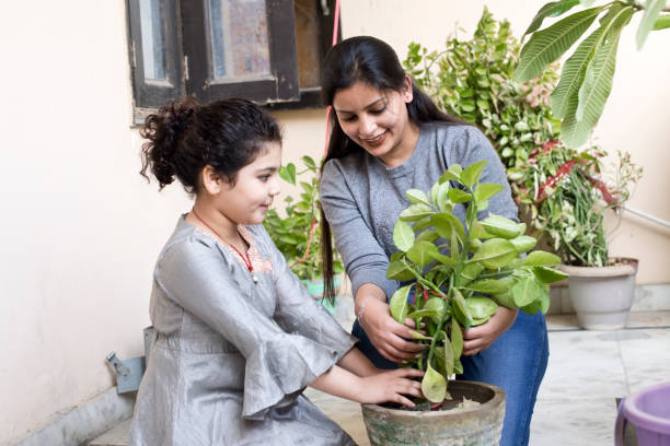 Mother with her daughter planting together at balcony stock photo