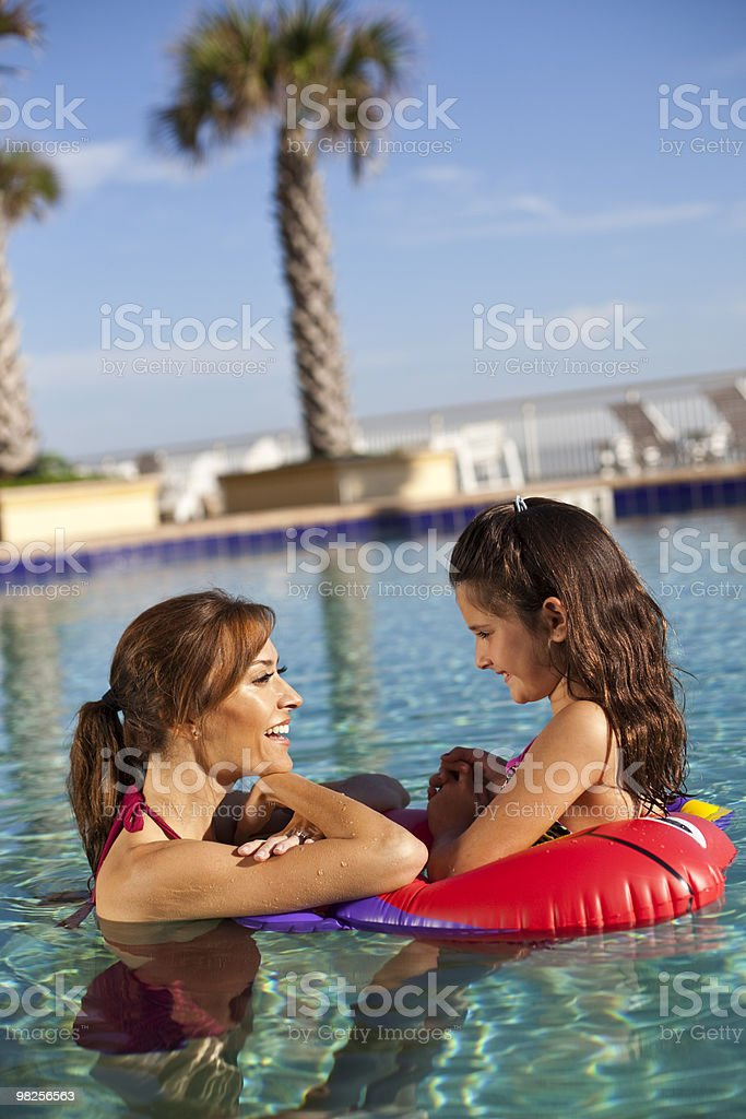 Mother with kids in pool royalty-free stock photo