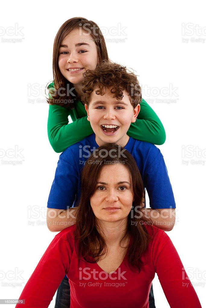Mother with kids isolated on white background royalty-free stock photo