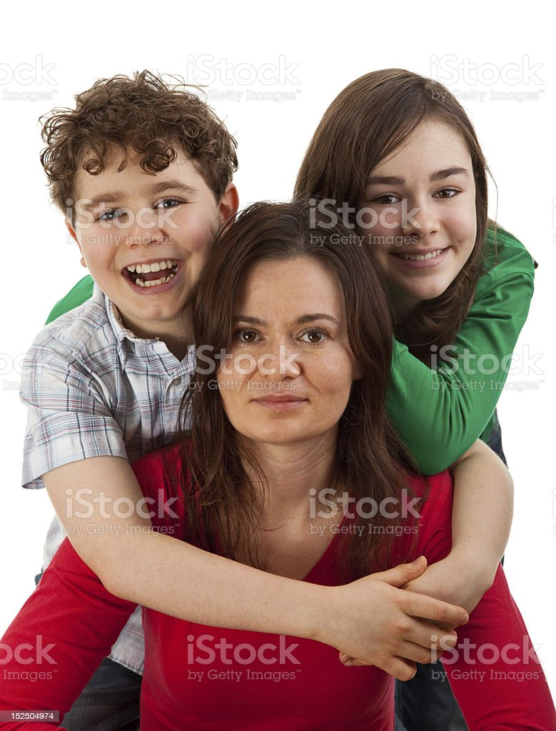 Mother with kids isolated on white background stock photo