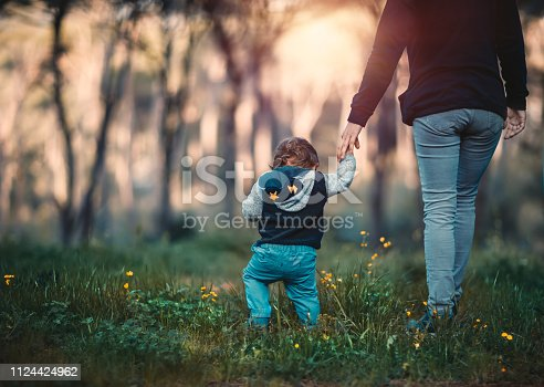 istock Mother with little son walking in the forest 1124424962