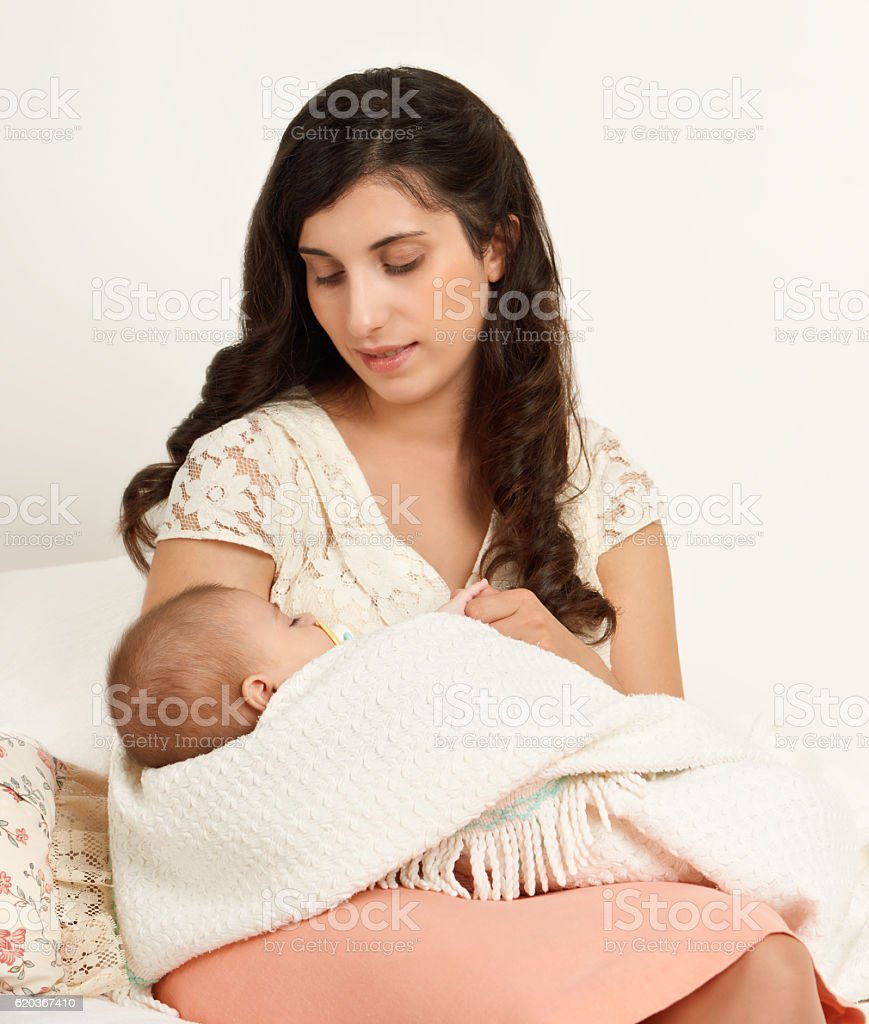 mother with sleeping baby portrait, happy maternity concept zbiór zdjęć royalty-free