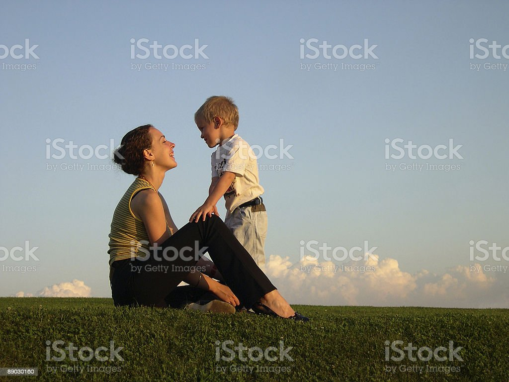 mother with son on sundown royalty-free stock photo