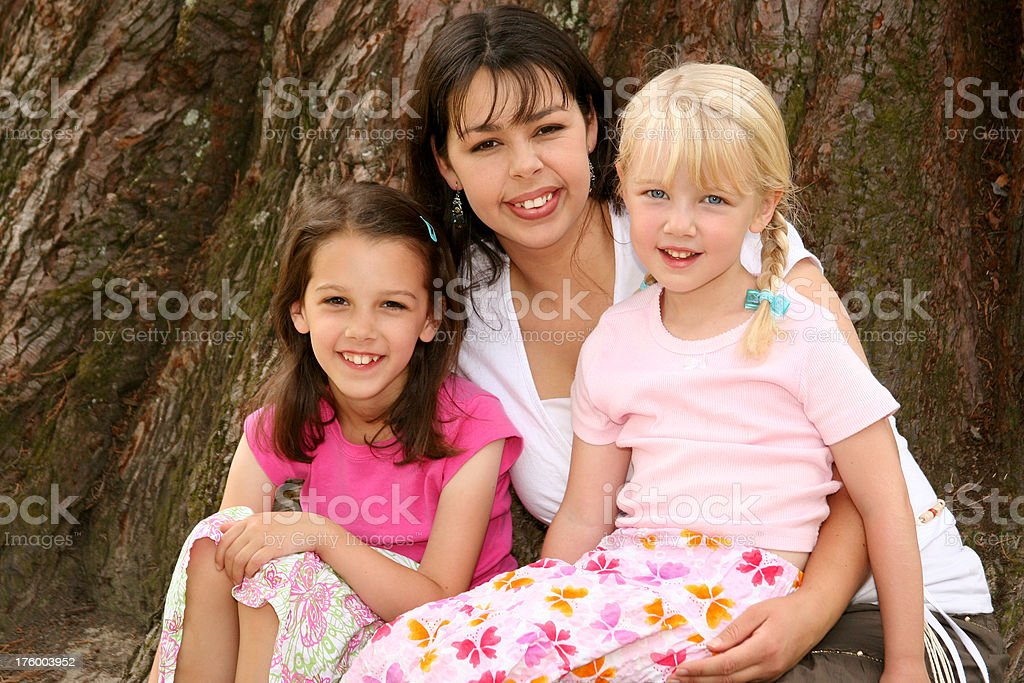 Mother with Two Kids royalty-free stock photo