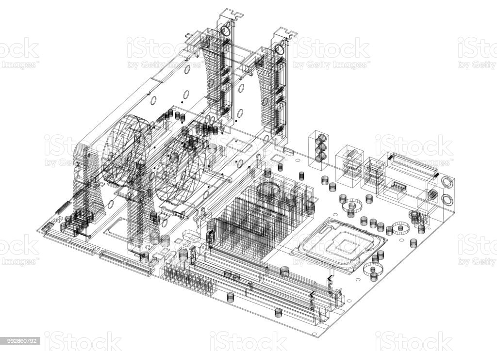 motherboard and graphic cards architect blueprint isolated stock