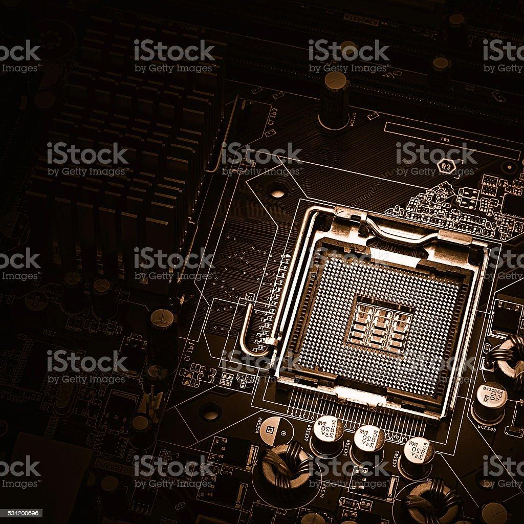 PC motherboard closeup stock photo