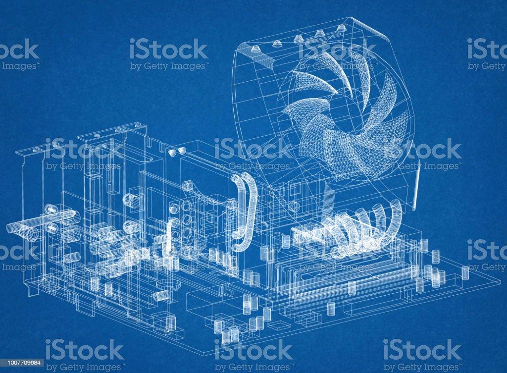 Motherboard-Grafikkarte und Prozessor Design Architekt Blueprint – Foto