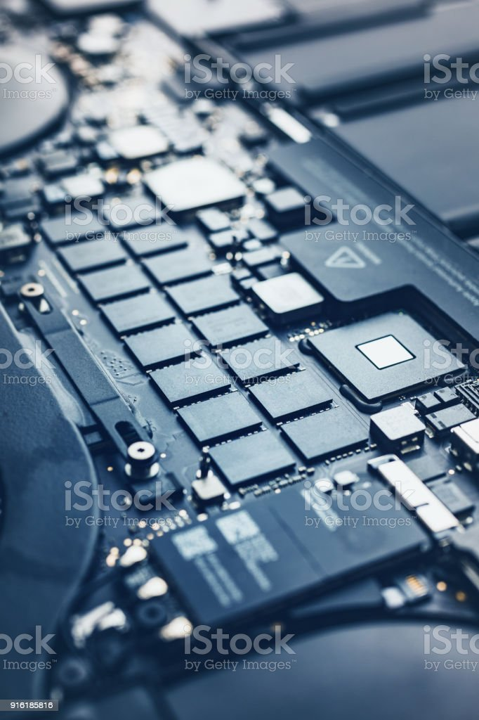 Motherboard of modern laptop stock photo