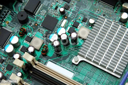 Part of motherboard with semiconductor components
