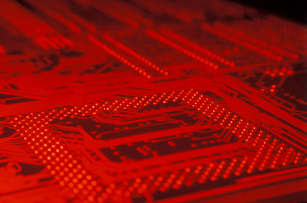 royalty free red circuit board with black chip pictures images and