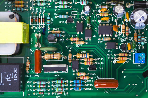 motherboard with microprocessor, microchip stock photo