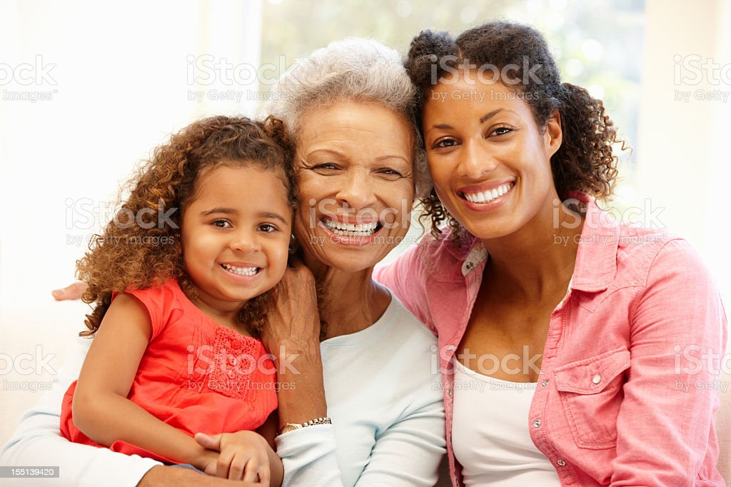 Mother,daughter and granddaughter stock photo
